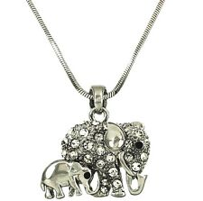 Silvertone Adorable Mom and Baby Elephant Pendant Necklace Clear Crystals