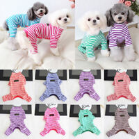 Pet Jumpsuit Coat Fall Winter Dog Stripe Pajamas Cat Puppy Clothes Teddy Costume