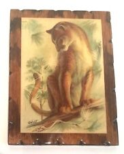 "RF HARNETT Signed COUGAR Art Print on Shellac Wood Canvas 7.5"" X 10"" VINTAGE VGC"