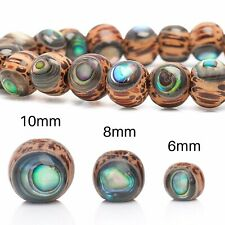 X10 Pack, 8mm, Handcrafted Palm Wood Inlaid With Abalone Shell Round Beads.