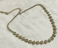 VINTAGE Sparkling Clear Rhinestone Diamante Necklace Modernist Geometric #2