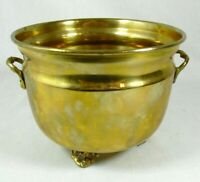 """Vintage Ornate Solid Brass Footed Planter Pot With Handles 6 3/8"""" W x 4 3/4"""" H"""