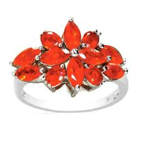 Natural Mexican Fire Opal Orange Flower Ring Sterling Silver white gold over