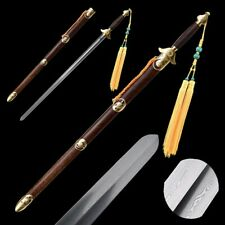 Hand Forged pattern steel Ridged Tai-chi sword blunt Copper Carved Fittings#0019