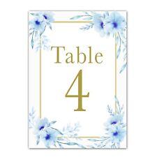 12 table number cards wedding bridal shower decoration floral blue gold