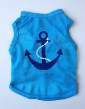 Blue Sailor Anchor (Small Size) T shirt Top Dog Clothes Pet Puppy Dog cat Outfit