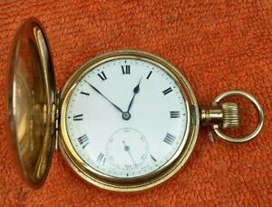 A.W.C CO Empress Canada Case Swiss Full Hunter Pocket Watch Gold P. C1890  aao