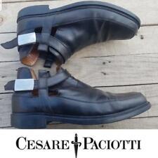 Cesare Paciotti Ankle Boots Buckle Size 9.5 Us / Eu 44 black leather