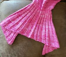Handmade Knit Mermaid Blanket Youth Size Acrylic Blend Throw Brand New (19)