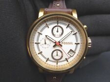 New Old Stock- FOSSIL ES3616 -Chronograph Raisin Leather Strap Quartz Lady Watch
