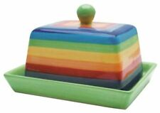 Ceramic Butter Dish With Lid Rainbow Striped Design By Shared Earth Fair Trade