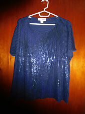 """""""CATHY DANIELS"""" NAVY SEQUINS S/S DRESSY  BLOUSE  SIZE XL"""