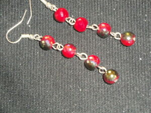Stunning 4 crimson red part treated glass drum dangle earrings