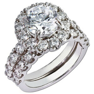 Beautiful Moissanite Diamond 1.90 Ct 14K White Gold Engagement Band Set Size 4 5