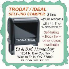 Return Address w/IN GOD WE TRUST, 3 Line, Trodat/Ideal-Self Ink, Custom Made