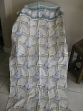 SEASHELLS SHOWER CURTAIN TEAL BEIGE HOME INNOVATIONS 100% COTTON BEACH PRE-OWNED