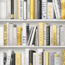 Gold White Bookcase Wallpaper Glitter Fashion Library Book Shelf Modern Muriva