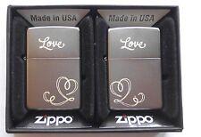 119175 Briquet ZIPPO Avec Gravure Love Heart-partenaires Set