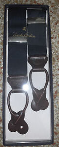 New Brooks Brothers Classic Suspenders Dark Blue Canvas and Leather