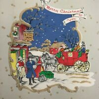 Vintage Early Mid Century Christmas Greeting Card Snowy Glitter Stagecoach Night