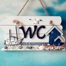 Ocean Accent Hanging Wooden Bathroom WC Plaque Sign Board Wall Decor House