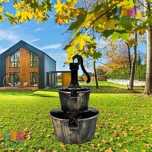 New Garden Water Barrel Fountain Pump 2 Tier Cascade Outdoor Patio Deck Ornament