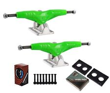 "Gullwing Pro III 9"" Green Skate Trucks Pair + Cal 7 Hardware Riser Pads Set"