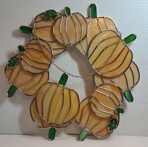 "Stain Glass Pumpkins Wreath 12"" Round 11 Pumpkins/Leaves Chain"