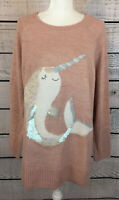 Lauren Conrad Pink Narwhal Sequined Pullover Sweater Women's Size XXL NWT