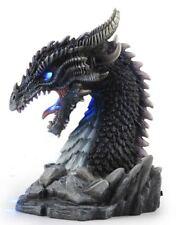 "8"" Horned Obsidian Dragon Bust (Led) Statue Fantasy Sculpture Figure Figurine"