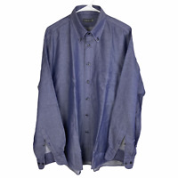 Canali Linen Cotton Button Front Shirt Large Blue Gray Italy Long Sleeve