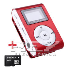 Reproductor MP3 CLIP con Pantalla LCD Color Rojo + MicroSD 4 Gb d41/v50