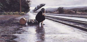 """STEVE HANKS  """"Leaving in the Rain""""  30"""" X 15""""  SIGNED and Numbered Print"""