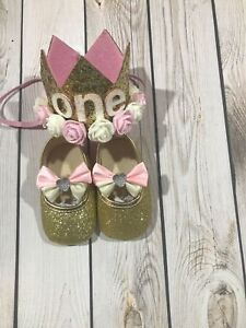 Baby girl crown headband, first birthday headband and shoes, gold glitter shoes