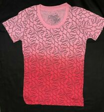 FAMOUS STARS & STRAPS LADIES FITTED TOP TSHIRT  ALLOVER F RED PINK