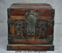 "10"" Antique Chinese Huanghuali Wood Dynasty Palace Bat Drawer Chest Jewelry Box"