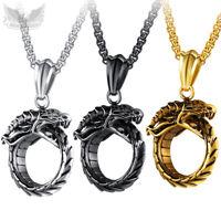 Massiver Drachen-Anhänger Edelstahl vergoldet silber schwarz Kette Drache Ring