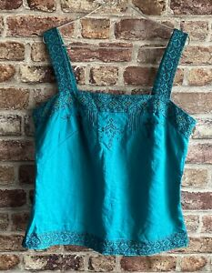 Monsoon  Women's Size 14 Teal  GREEN BEADED METALLIC EMBROIDERED Top