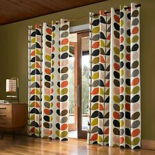 Orla Kiely Designer MULTI STEM Lined Curtains Eyelet Top Ring Top Curtains Pair