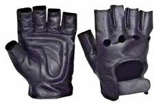 Motorcycle fingerless mens leather biker gloves