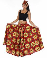Wax Elastic Waist Flared Skirt Red Green One Size Fits Ankara Long Large Bow Tie