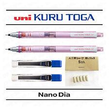 2 x Uni Kuru Toga Mechanical Pencil 0.7mm - Pink Barrel + Leads + Spare Erasers