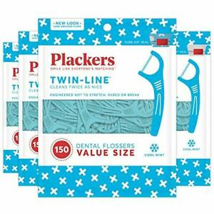 Plackers Twin-Line Dental Floss Picks 150 Count Pack of 4
