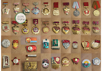 COLLECTION OF Soviet USSR Vintage Medal Badges 40 Medals 100% Original