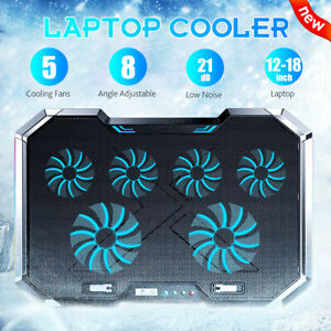 """6 Fans Laptop Cooler Mat  Stand For 12""""-18"""" Cooling Pad USB Power RGB Lighting"""