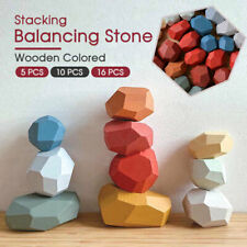 New Toy Creative Wooden Colored Stacking Balancing Stone Building Blocks AU