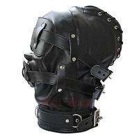 Soft Faux Leather Gimp Bondage Hood / Sensory Deprivation Mask Gag Blindfold UK