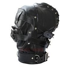 Soft Leather Gimp Bondage Hood Sensory Deprivation Mask Gag Blindfold