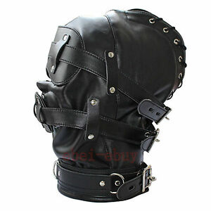 Soft Faux Leather Gimp Bondage Hood / Sensory Deprivation Mask Gag Blindfold UK