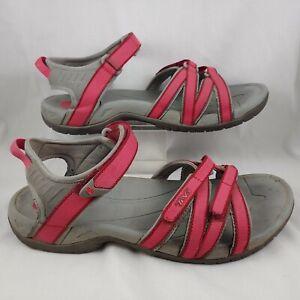 Teva Tirra Sport Sandals US 10 Pink Gray Strappy 4266 F27010K Hook & Loop
